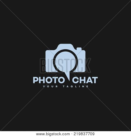 Photo chat logo template design. Vector illustration.