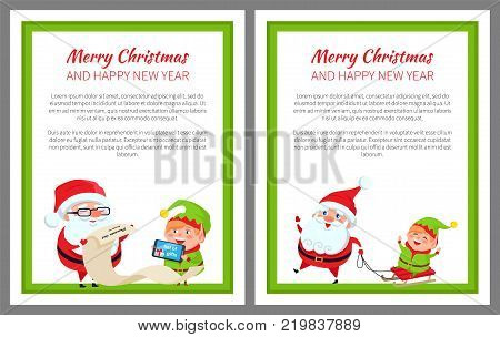 Merry Christmas happy New Year bright poster with Santa Claus and Elf on sledge, vector illustration with fairy tale characters in green square frame