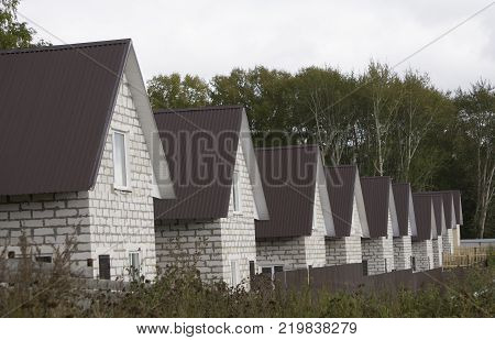 Residential area with newly built houses in a row