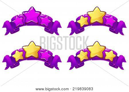 level complete templates, stars rank on purple ribbon, assets for games design, Cartoon game rating icons. Ranking elements. GUI elements for animation