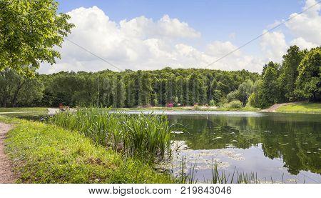The Verhnee Lake on the Shchelokovskij khutor in a summer sunny day. Nizhny Novgorod, Russia.
