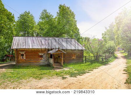 Nizhny Novgorod, Russia - June 10, 2017: Obukhov's cottage in the Museum of Wooden Architecture Shchelokovsky Khutor.