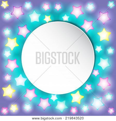Bright colorful glowing star lights on gradient background.  Vector design for Holiday cards, valentine's day, Christmas, New Year, birthday, party, banners. Template or mock up. Children design.