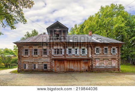 Nizhny Novgorod, Russia - June 10, 2017: Pavlova's House in the Museum of Wooden Architecture Schelokovsky Farm in a summer sunny day. (3)