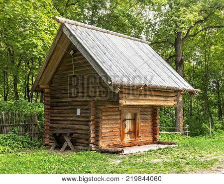 Nizhny Novgorod, Russia - June 10, 2017: Grosheva's barn in the Museum of Wooden Architecture Shchelokovsky Farm.