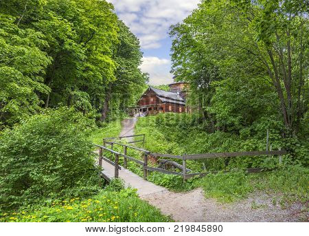 Nizhny Novgorod, Russia - June 10, 2017: The Intercession Church (or Pokrovskaya ) in the Museum of Wooden Architecture Shchelokovsky Khutor.