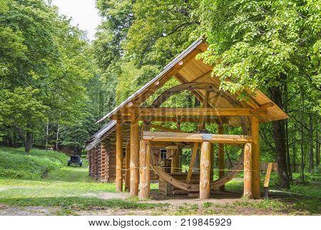 Nizhny Novgorod, Russia - June 10, 2017: The well in the Museum of Wooden Architecture Shchelokovsky Farm.