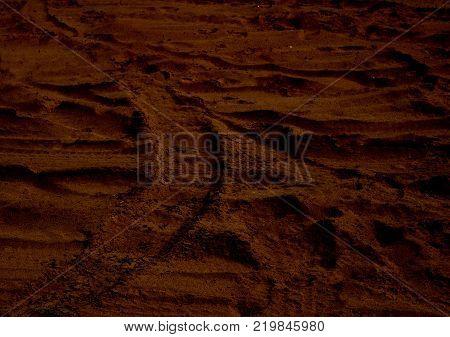 Martian sunset (Mars planet) red landscape. Looks like cold desert on Mars.