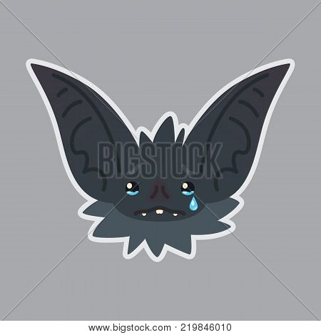 Bat sticker. Emoji. Vector illustration of cute Halloween bat vampire shows sad emotion. Crying. Isolated emoticon icon with sublayer. Bat-eared grey creature snout. Print design. Badge.