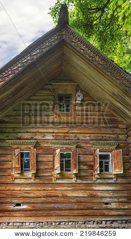 Nizhny Novgorod, Russia - June 10, 2017: The facade of the house in the Museum of Wooden Architecture Shchelokovsky Farm.