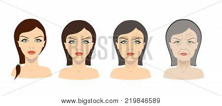 Vector aging process. Four stages of face changing
