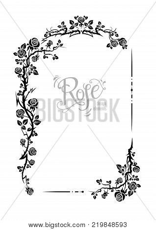Wedding or jubilee holiday floral theme. Ornamental frame with roses. Solemn floral element for design banner, invitation, leaflet, card, poster and so on.
