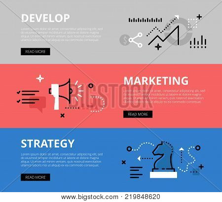 Flat line web banners of marketing strategy development. Line line graph, megaphon and chess figure for websites and marketing materials with call to action buttons, ready to use