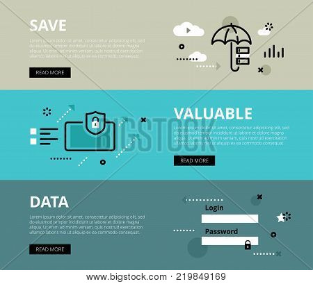 Flat line web banners of data security. Line data base, mobile security and sign in form for websites and marketing materials with call to action buttons, ready to use