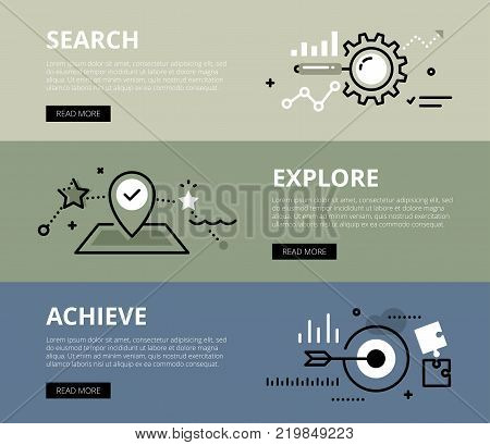 Flat line web banners of goal achieving process. Line magnifying glass, gearwheel, map pointer and circular target for websites and marketing materials with call to action buttons, ready to use
