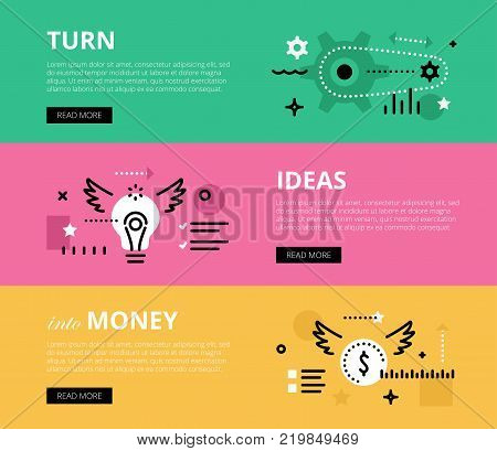 Flat line web banners of business motivation. Line gearwheels, lightbulb and money symbol for websites and marketing materials with call to action buttons, ready to use