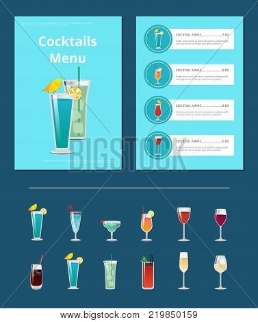 Cocktails menu bar layout with alcoholic beverages in shiny glasses. Vector illustration with design of front page and ingredients cost prices