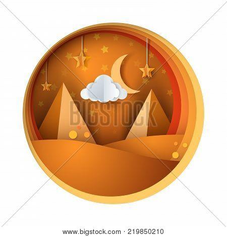 Lifeless desert - paper illustration. Vector eps 10