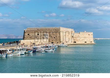 Heraklion Greece - November 2 2017: Koules fortress (The Venetian Castle of Heraklion) in Heraklion city Crete island Greece.