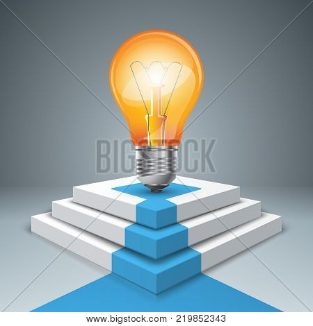 Pedestal, bulb for winners - business infographic. Vector eps 10