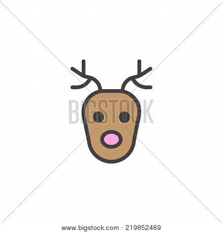 Reindeer head filled outline icon, line vector sign, linear colorful pictogram isolated on white. Deer face symbol, logo illustration. Pixel perfect vector graphics