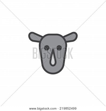 Rhinoceros head filled outline icon, line vector sign, linear colorful pictogram isolated on white. Rhino face symbol, logo illustration. Pixel perfect vector graphics