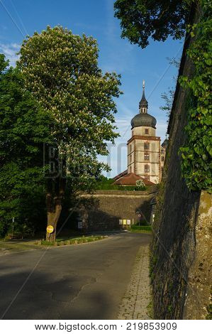 WURZBURG, GERMANY - MAY 11, 2015: view of the Marienberg Fortress or Festung in Autumn with walking in front, Germany