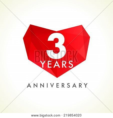 3 years anniversary heart logo. Template emblem of 3th years celebration in facet heart shape. Vector illustration