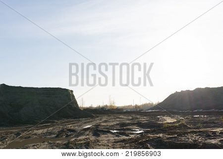 Criminal quarry for the extraction of clay and sand. Industrial quarry sand and clay barbaric method.