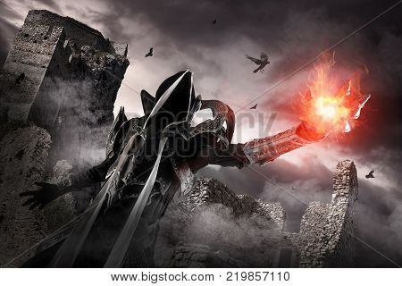 Man in a fantasy costume of a dark demon cosplay isolated in white poster