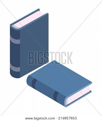Blue books standing and lying vector illustration isolated on white. Textbooks in hardcover, encyclopedia materials, modern literature