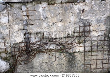 Steel net for protect rock slide.stone with metal net background.