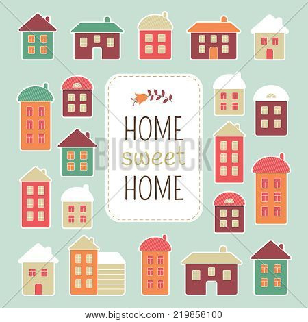 House vector illustration. Home sweet home lettering quote