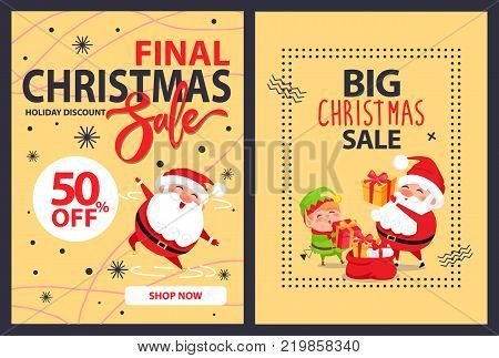 50 off big final Christmas sale advert poster with merry Santa Claus leaping for joy and cartoon elf putting presents into red sack full of gifts