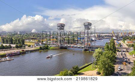 Two-tiered bridge drawbridge pre-war bridge on the river Pregolya. Kaliningrad, Russia