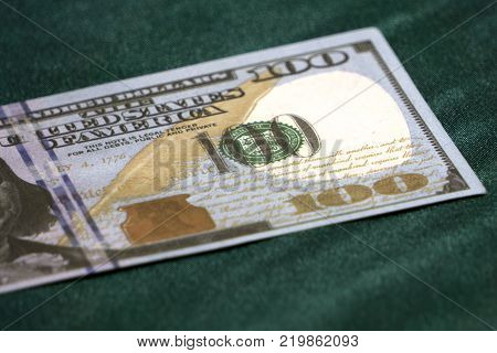 US 100 dollar bill close up USA federal fed reserve note fragment. American dollar is the official currency of the United States of America