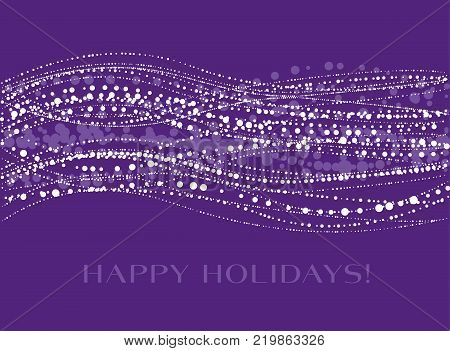 Concept vector illustration with snow. Holiday Christmas white and violet abstract header for invitation, header, surface design. Festive snowflake element.