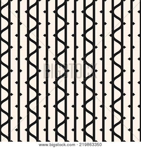 Vector seamless pattern with vertical lines, wavy stripes ink line elements. Black and white abstract geometric texture. Funky style monochrome repeat background. Design for decor, prints. Lines pattern. Lines background. Vertical lines texture.