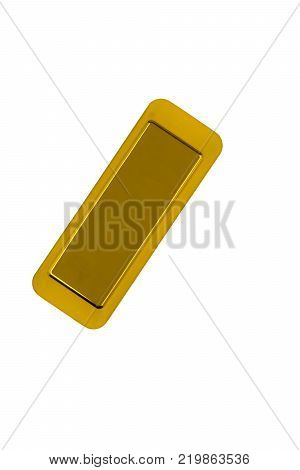Gold bar isolated on white background. Gold bar top view
