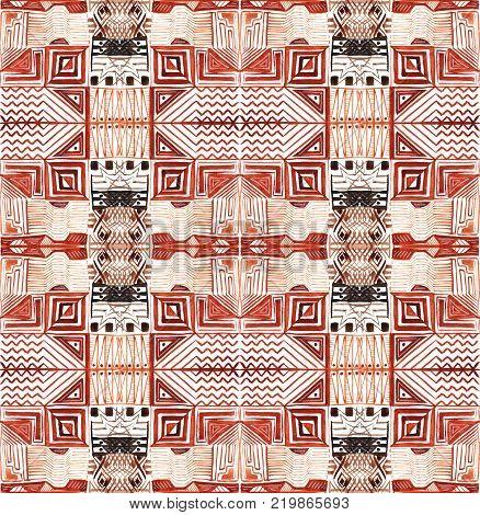 African tribal aborigines painting. Geometric patterns. Seamless Pattern. Light tile pattern