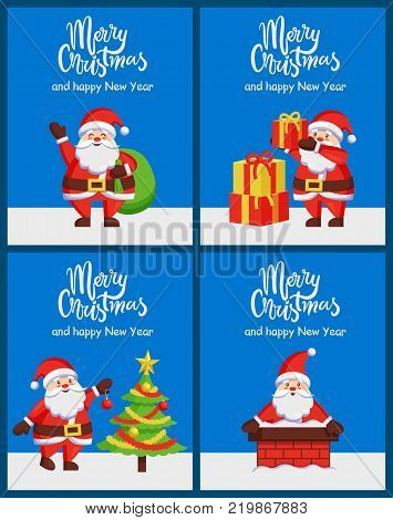 Merry Christmas happy New Year Santa Claus banners with decorated spruce and presents. Vector illustration with Santa ready to climb down through chimney