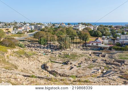 Ruins of Hellenic Theater in Paphos, Cyprus