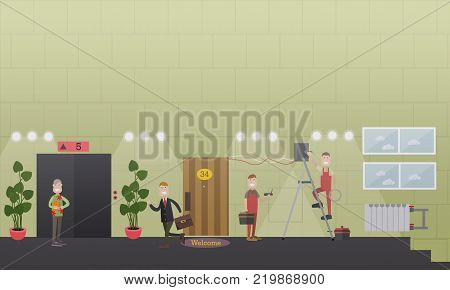 Vector illustration of workers installing wire and wireless internet connection in office hallway. Internet installing services concept. Flat style design.