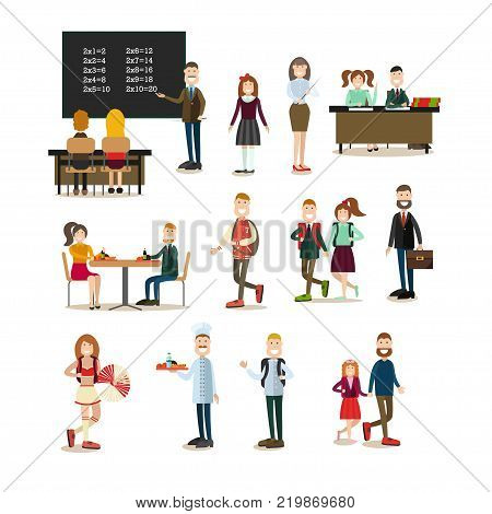 Vector illustration of school principal, teacher, cook and schoolchildren. School people symbols, icons isolated on white background. Flat style design.