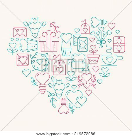 Love poster template in the gigantic heart with many beautiful images symbolizing valentines day hand drawing doodles elements on the white background vector illustration