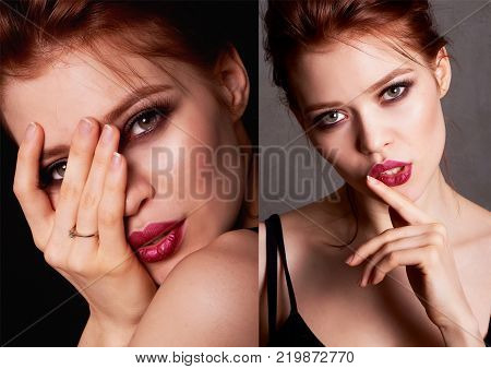 portrait of a beautiful red-haired girl. Close. Plump lips. Sexy , mysterious and mysterious. Collage