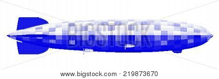 Large 1930sr German hydrogen filled airship in blue halftone over a white background