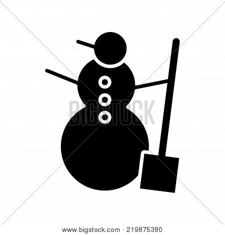 Snowman vector icon isolated on white. Snowman illustration flat design. Solid icon
