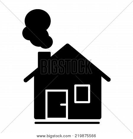 house with chimney vector line icon. House in winter. Christmas solid house.
