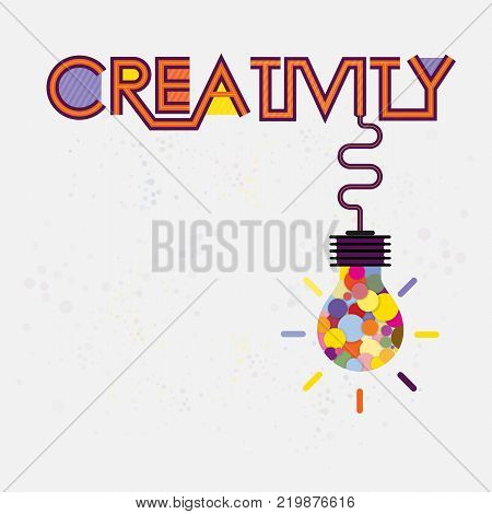 Colorful light bulb icon and Creativity concept.Modern typography design.Creative design for wall graphics typographic poster advertisement web design and office space graphics.Vector illustration